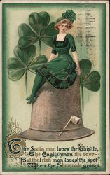 Woman in Shamrock Dress, with Shamrocks and Poem Postcard