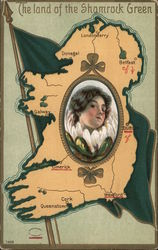 The Land of the Shamrock Green-Map of Ireland with picture of a lady in middle Postcard