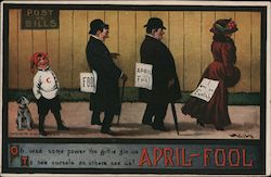 People with Signs on Backs - April-Fool Postcard