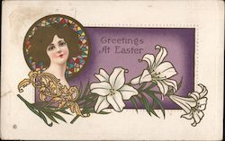 Nouveau-Style Greetings at Easter Postcard