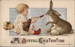 A Joyful Eastertide - Child Giving Bottle to Bunny with Chicks Postcard
