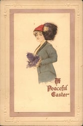 A Peaceful Easter Hand Drawn/Hand Colored Postcard