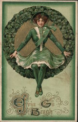 Erin Go Brach - Woman in green surrounded by clovers Postcard