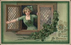 The Top of the Mornin' TO you St. Patrick Day in the Mornin' - A Girl in Green in the Window Postcard