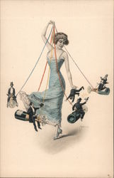 Woman with Men on Strings Postcard