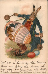 Rabbit with an Egg Drum Postcard