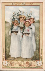Easter Greeting - Girls with Flowers and Songbooks Postcard