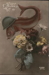 Fish With Helmet and Flowers: 1er Avril Postcard