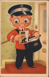 Postman with Post Card and Mail Bag Googley Eyes Postcard