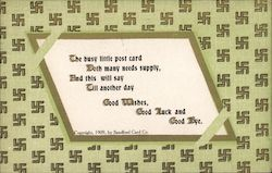 Green Card with Swastikas and Poem Postcard