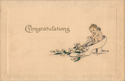 Congratulations Cherub sitting in woman's shoe with flowers Postcard