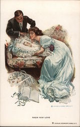 A Woman and Man Looking Longingly at a Baby Postcard