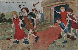 Pre-historic Courtship. Marriage. Postcard