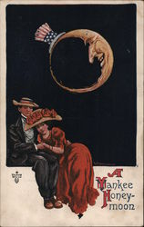 Man and woman together under a patriotic hat-wearing moon Postcard