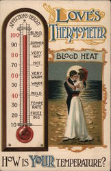 Love's Thermometer - Couple Kissing, Thermometer Postcard