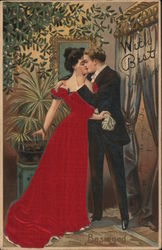 With Best - Couple Kissing Postcard