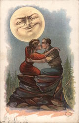 Man and Woman Kissing on a Rock under the Smiling Moon Postcard