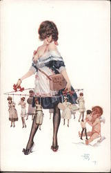 Scantily Clad Woman Hodling String of Women Postcard