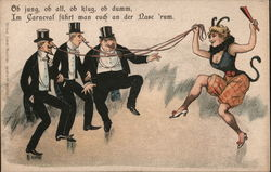 Devil Woman with Men on Strings Postcard