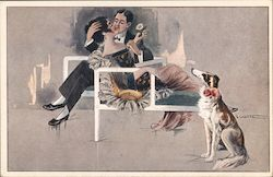 Couple lounging Postcard