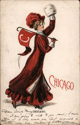 Chicago woman Postcard