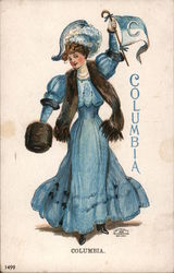 Columbia - Woman in Blue Dress with College Flag Postcard