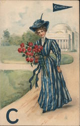 Columbia - Woman in Blue Stripped Dress with Red Flowers Postcard