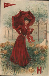 Harvard Lady in Red Postcard