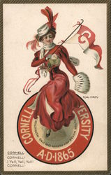 Cornell University - A Woman Dressed in Red Holding a Cornell Flag Postcard