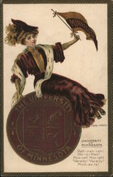 The University of Minnesota - Girl with College Seal and Pennant Postcard