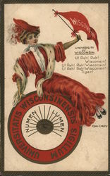 University of Wisconsin - Woman in Red Dress with College Flag and Seal Postcard