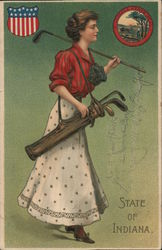 State of Indiana - Woman Golfer Postcard