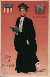 State of Massachusetts - Lady wearing black coat, skirt and hat, holding a book Postcard