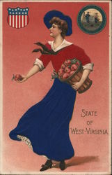 State of West Virginia-Woman with barrell of apples Postcard