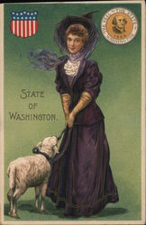 State of Washington - Woman in Black with Lamb Postcard