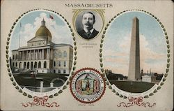 Massachusetts State House and Monument and State Seal Postcard