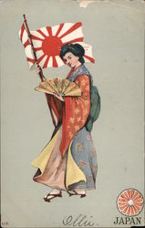 Woman in Japanese Costume Holding Japanese Military Flag Postcard