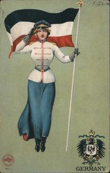 Woman in Uniform with German Flag Postcard