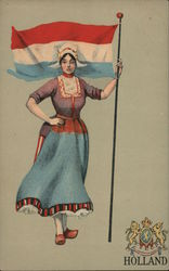Woman in traditional clothing with flag of netherlands Postcard