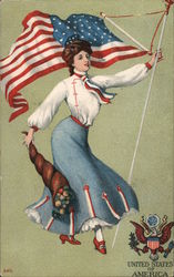 United States of America-Patriotic Woman holding a flag Postcard