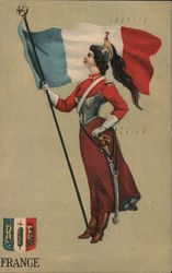 Woman in French Military Uniform Postcard