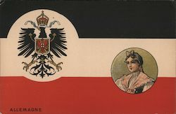 Allemagne Coat of Arms and Woman in Costume Postcard