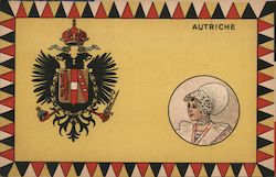 Austriche Crest and Woman in Costume Postcard