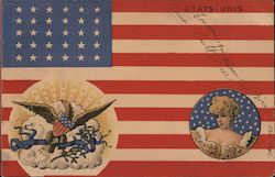 An American Flag with a Woman and an Eagle Postcard