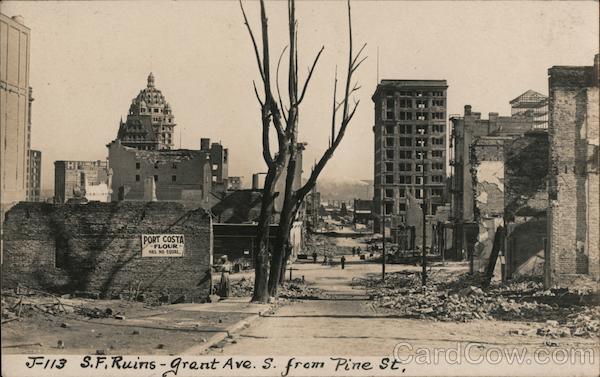 San Francisco Ruins - Grant Ave S. From Pine St. J-113 California