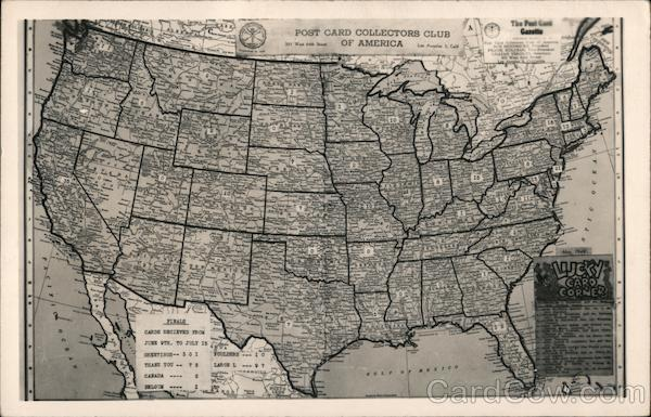 Lucky Card Records Map, Post Card Collectors of America