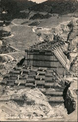 View of Dam Construction From West Side Postcard