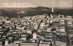 Alcatraz Island and Coit Tower from Top of Russ Bldg.