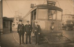 Policeman and Train Conductors, Ocean Beach Streetcar Postcard
