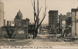San Francisco Ruins - Grant Ave S. From Pine St. J-113 Postcard